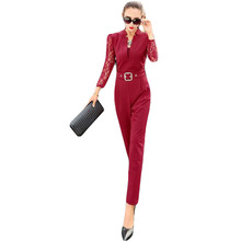Sexy Lace Rompers Womens Jumpsuit 2016 Long Slim Overalls Black Playsuit Casual  Women BDK013