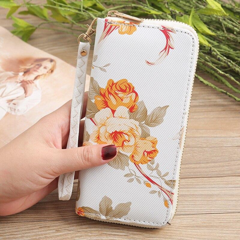 Flower Leather Women's Wallet Female Long Walet Women Lady Clutch Money Bag Coin Purse Zipper Strap Printed Rose Wallet 243