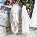 Hot Selling Women Lace Up Canvas Shoes Casual Spring Flats Platform Shoes Soft Leisure Loafers White Shoes Plus Size 35-39 pcd48