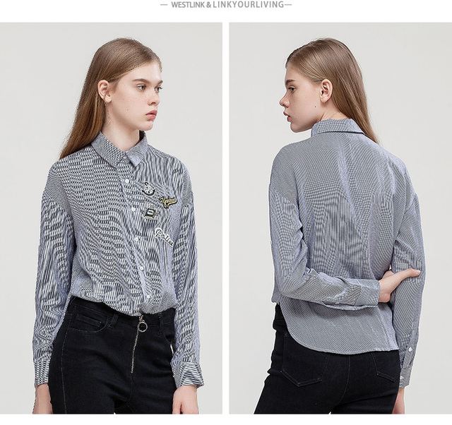 Spring New Stripes Badge Button Lapel Edge Curling Cuff Long Sleeve Blouses Women Shirts