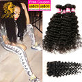 Rosa Hair Products Brazilian Deep Wave Virgin Hair With Closure 4 Bundles Natural Black Human Hair Extensions With Closure