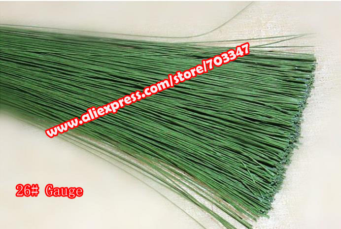 """Big Order Big Discount!! 600pcs X 26# Gauge Green Paper Covered Floral Stem Wire 23.6"""" in Green and White *Free Shipping*"""