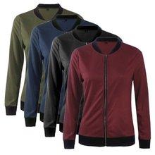 Solid Color Classic Style Women Casual Jacket  Bomber Jackets Female Coat Flight Zipper Coats S M L XL XXL