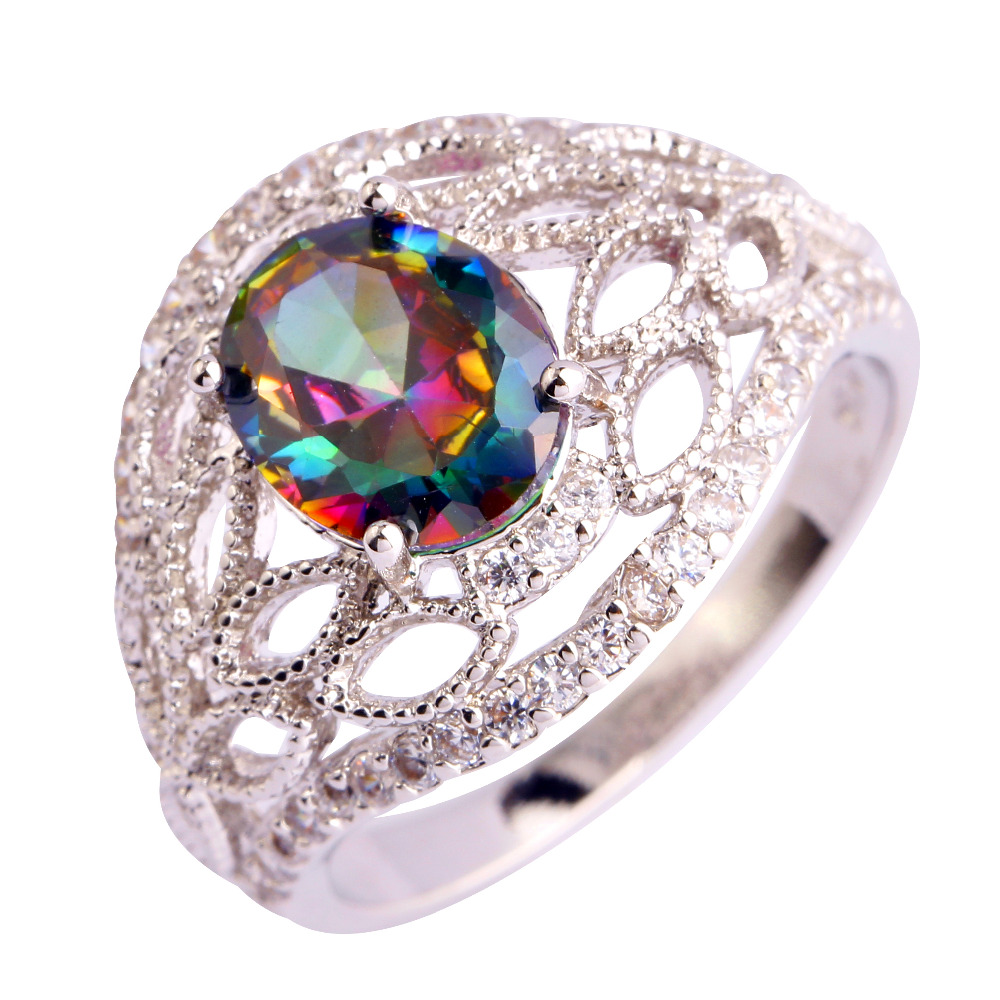 lingmei Brand New Oval Rainbow mystery hollow Silver Ring Size 7 8 9 10 Unisex Party Noble Jewelry Wholesale
