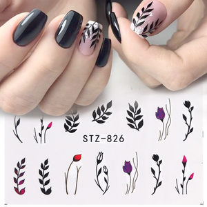 Image 3 - 1pcs Water Nail Decal and Sticker Flower Leaf Tree Green Simple Winter Slider for Manicure Nail Art Watermark Tips CHSTZ824 844