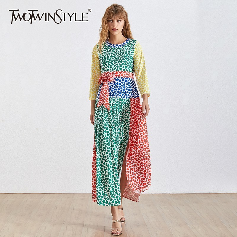 TWOTWINSTYLE Summer Hit Color Patchwork Dress For Women O Neck Long Sleeve Bandage Bow Pleated Female