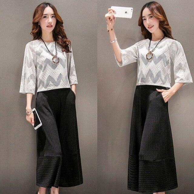 Мода вязание широкий ноги брюки костюм женский Корейский весной 2016 tee два комплекта небольшие ароматные красавицы