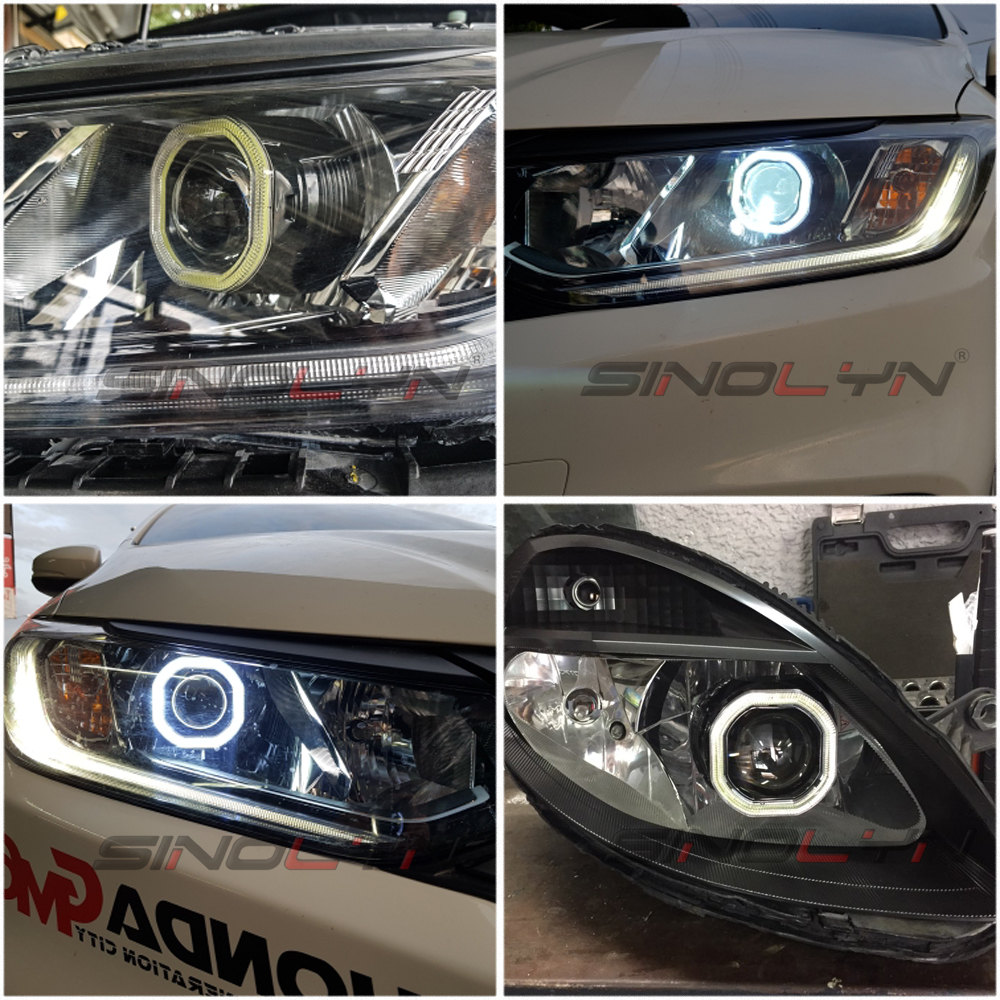 Sinolyn Mini 2.5'' COB LED Angel Eyes Halo DRL HID Car Projector Lens Headlight Bi-xenon Retrofit Black Kit H1 H4 H7 Devil Eye