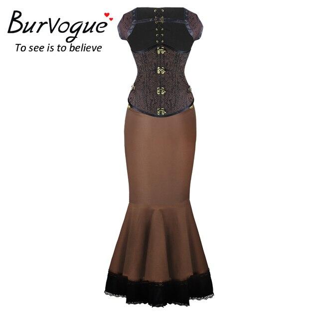 Burvogue Long Skirts Steampunk Corset Dress Set and Waist Trainer Corsets Set Mermaid Skirt Dress Steampunk Corset for Women