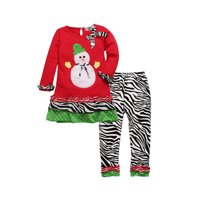 ФОТО New Snowman Top Blouse And Pants New Year Winter Baby Girls' Toddler Tracksuit Pyjamas Set Christmas Children Clothes Set