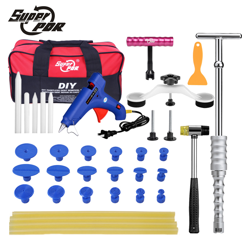 Super PDR Car Paintless Dent Removal Tools Kit dent lifter pulling bridge Glue gun Glue Tabs 34 pc dent repair Tool Set pdr tools set dent removal tool paintless dent repair tools dent puller kit dent lifter 10x glue tabs pulling bridge herramentas