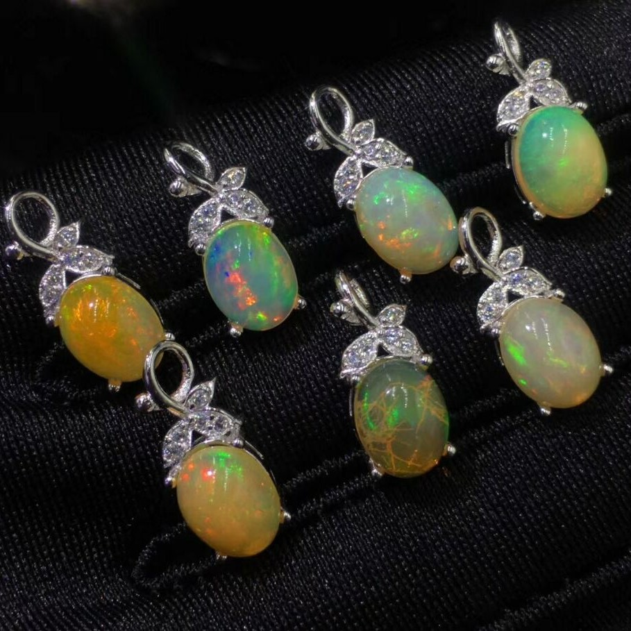 2018 New Arrival Genuine 925 Sterling Silver Luxury Oval Shape Real Opal Pendant Charms Birthday Gift