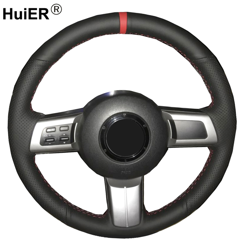 HuiER Hand Sewing Car Steering Wheel Cover For Mazda MX-5 Miata 2009 - 2012 2013 2014 RX-8 2008-2013 CX-7 CX7 2007 2008 2009