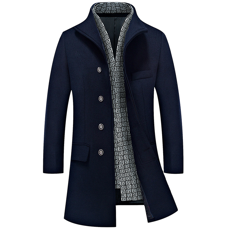 New 2017 autumn winter men's slim windbreaker man wool trench coat men medium-long woolen cashmere coat outerwear free shipping