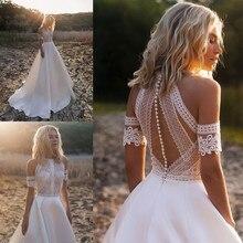Bohemian düğün elbisesi es 2020 dantel saten gelinlikler düğme geri A Line düğün elbisesi Robe De Mariee