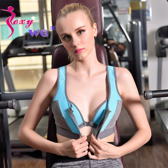 689b7a702108e SEXYWG Women Zipper Push Up Sports Bras Shockproof Underwear Running Vest Gym  Workout Running Tops Sportswear Yoga Soprt Top