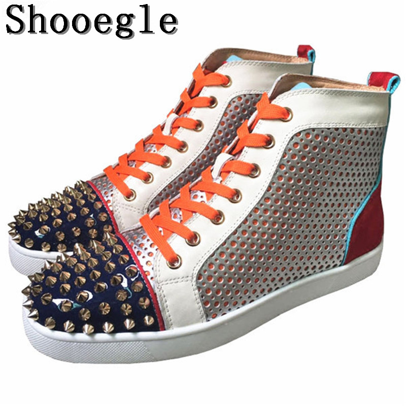 SHOOEGLE Colorful Patchwork Rivets Men Shoes Fashion Studs Lace-up Sneakers Men Hightop Flat Casual Shoes Man Size 38-47 Wholesa glowing sneakers usb charging shoes lights up colorful led kids luminous sneakers glowing sneakers black led shoes for boys