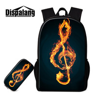 Dispalang Women Men Backpack 2pcs Sets School Bags And Pencil Bags For Teenagers Music Note Printing