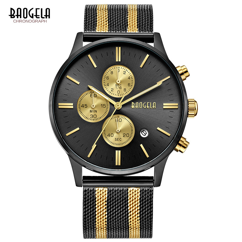 2018 BAOGELA Men Fashion Casual Stainless Steel Quartz Watch Male Military Wristwatches Waterproof Watches Relogio Masculino baogela 2018 men fashion quartz watch male casual leather band wristwatches waterproof watches relogio masculino
