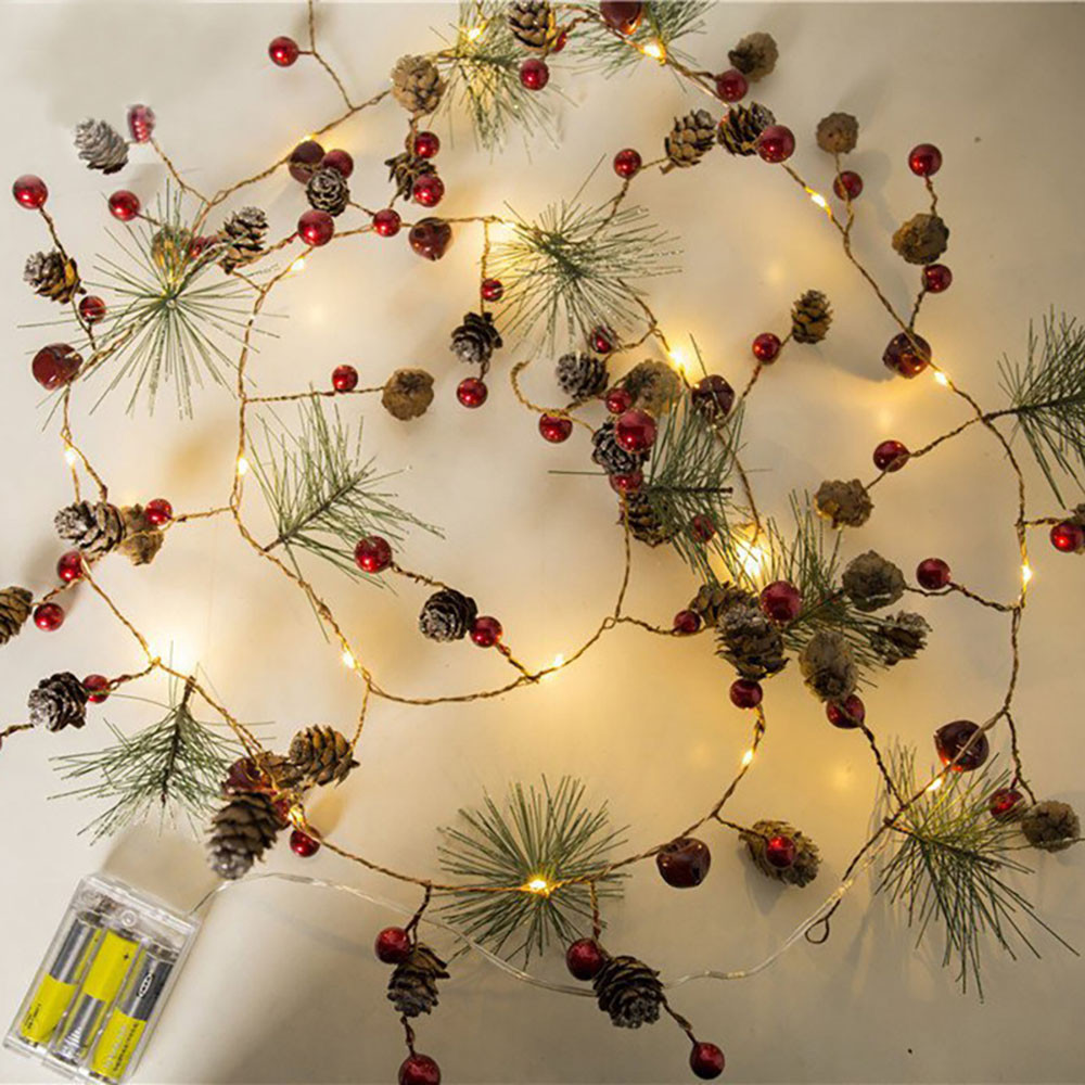 Red Berry Christmas Garland Lights Led Copper Fairy Lights Pinecone String Lights For Xmas Holiday Tree And Home Decoration 10*