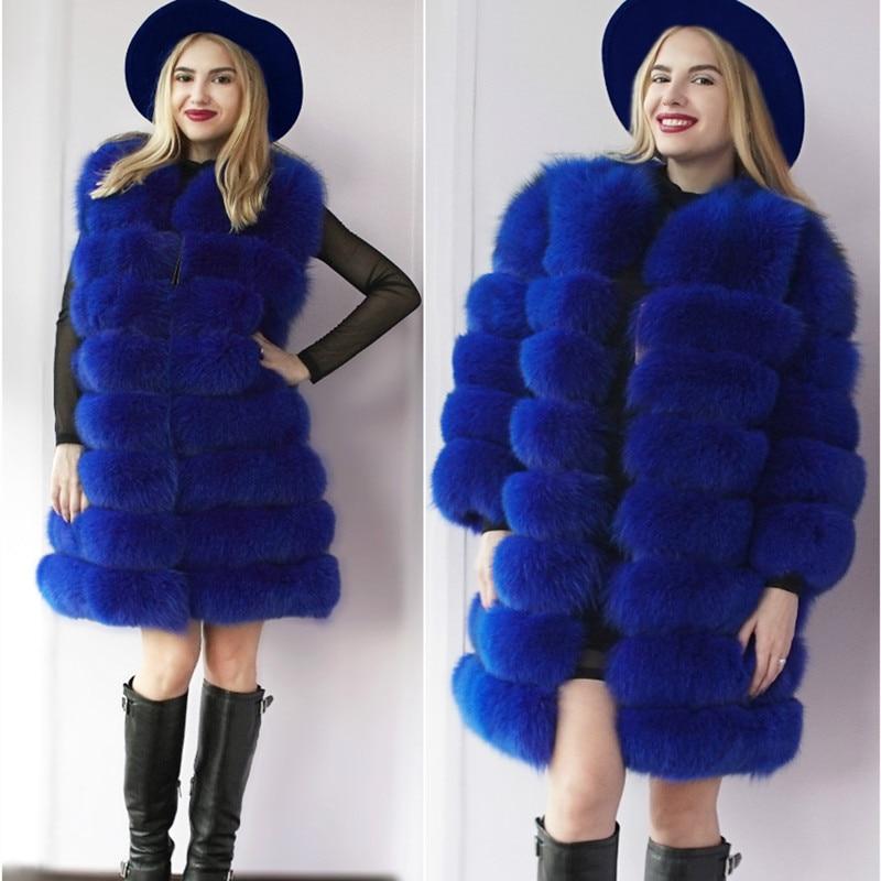 Pravý kožešinový kabátPřirozený liščí kožich Zimní vyjímatelné rukávy Velká kožená bunda na míru Vyjímatelná kožichová vesta