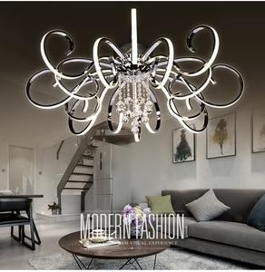 Image 3 - ポストモダンシンプルなledシャンデリアリビングルーム照明大気クリエイティブ人格クリスタルアートホールマスター寝室ライト