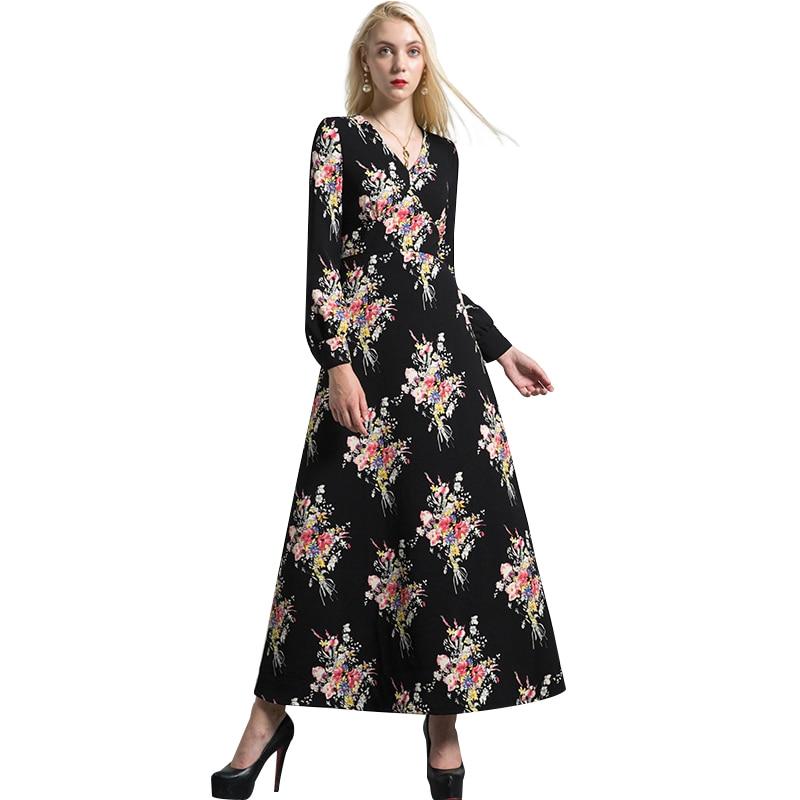 df luxury vintage jacquard v neck autumn maxi dress plus size