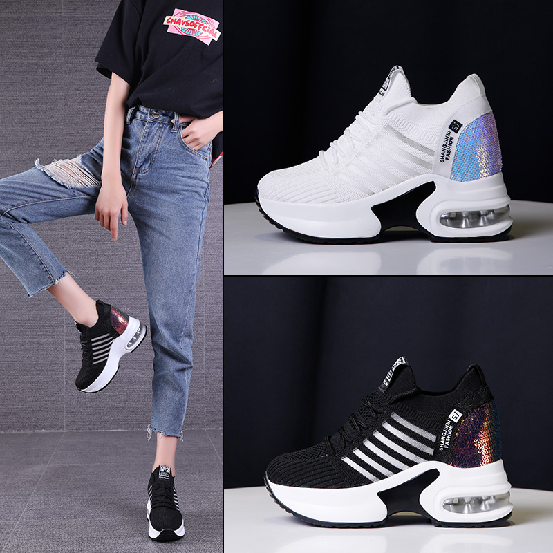 Leisure chunky sneakers 2019 air mesh  breathable Paillette bling sequin Height Increasing cross-tied platform wedges heels 6cmLeisure chunky sneakers 2019 air mesh  breathable Paillette bling sequin Height Increasing cross-tied platform wedges heels 6cm