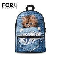 FORUDESIGNS Vintage School Bags for Teenagers Girls Schoolbag 3D Denim Pocket Animal Cat School Backpack Boys Bagpack BookBag