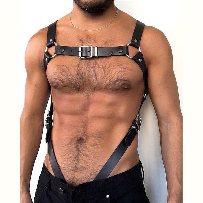 Men Leather Suspenders Belt Body Bondage Straps Fashion Adjustable Trousers Braces Suspender With Metal Clips Punk Harness Belts