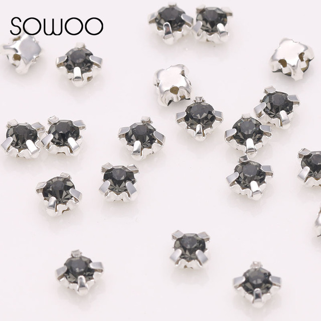 Black diamond 4 claw Sew on Rhinestone Crystal Strass with sliver Claw Use  for Wedding Dress Full Shoes Bags all sizes SOWOO fd3f45e26047