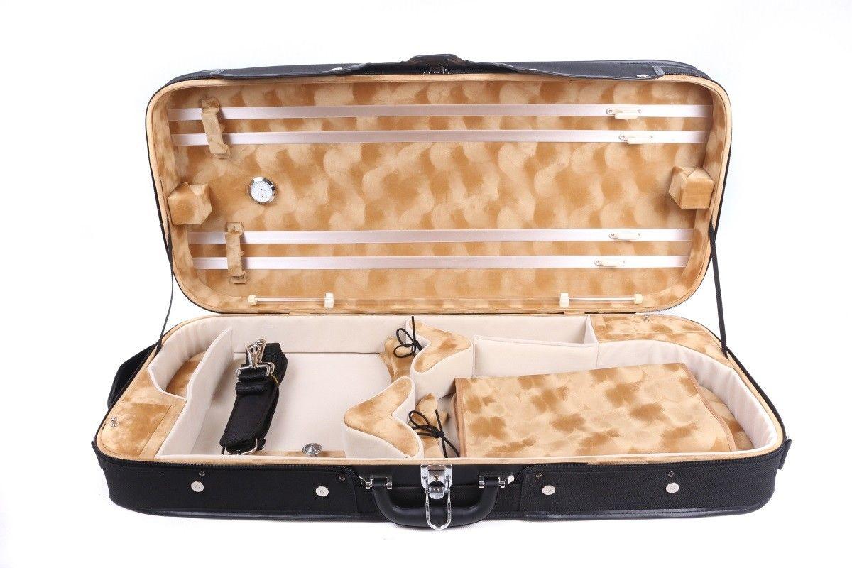 Full Size Violino Viola Caso Duplo caso Difícil Violino Violino Caixa de Madeira Caso Oblongo Luz Forte