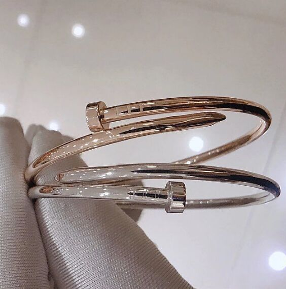 Hot 100% 925 Sterling Silver Nail Shape Bracelet Bangles Rose Gold/Silver Colors Famous Brand Jewelry Good Quality