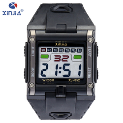 XINJIA fashion leisure mens watches top brand luxury waterproof luminous digital watch Classic tricolor Resin material XJ-852