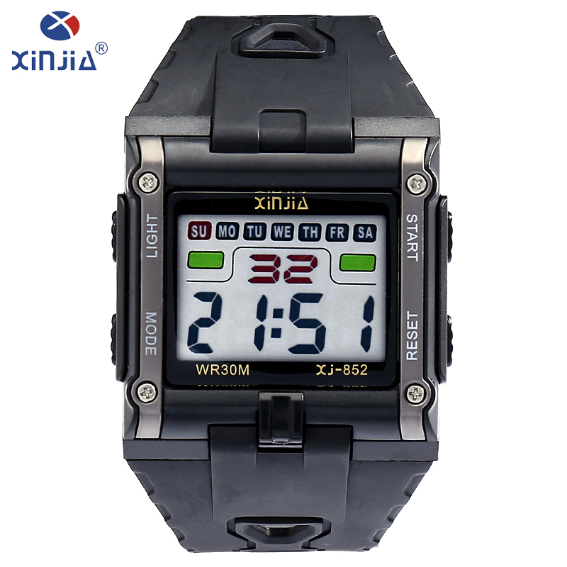 XINJIA fashion leisure mens watches top brand luxury waterproof luminous digital watch Classic tricolor Resin material XJ-852 купить недорого в Москве