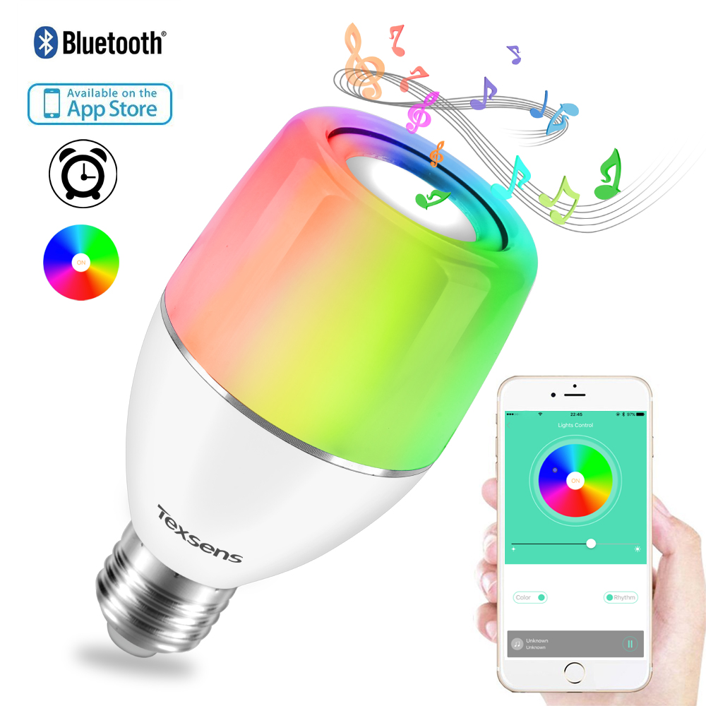 Texsens E27 APP Smart LED Music Bulb Colorful Light Control Night Light Audio Speaker RGB Wireless Bluetooth Playing Lighting майка классическая printio once upon a time in america однажды в америке