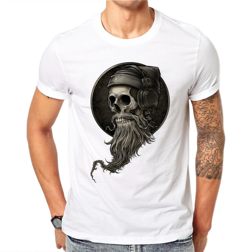 100% Cotton Personality Summer Men 3D DJ Skull Print   T     Shirt   Letters Gothic Style O-neck Tee   T  -  Shirts   Short Sleeve Print Tops