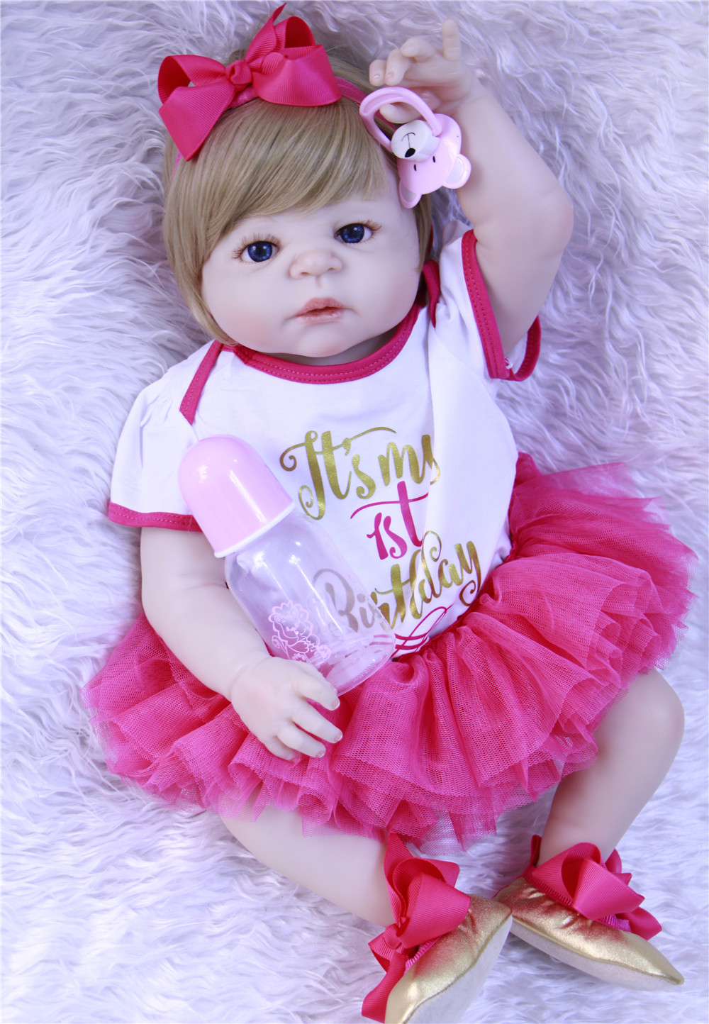 Full silicone reborn baby  dolls 22inch girl body reborn babies alive doll  bebe gift reborn bonecas blonde hair princessFull silicone reborn baby  dolls 22inch girl body reborn babies alive doll  bebe gift reborn bonecas blonde hair princess