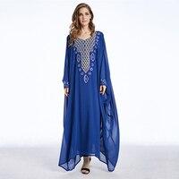 Muslim Chiffon Abaya Maxi Dress Bat Sleeve Diamonds Long Robe Gowns Kimono Middle East Jubah Ramadan