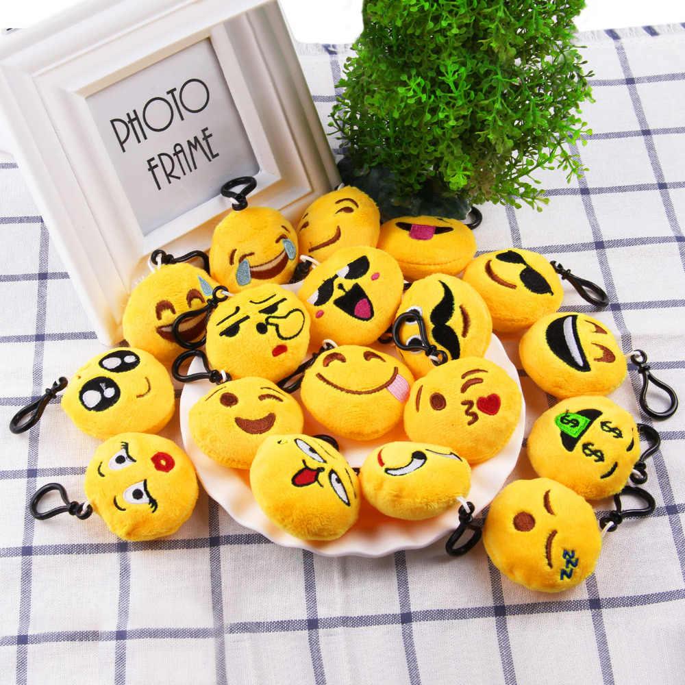 28 PCS Rodada Bonito Fluffy Plush Keychain Rosto Sorriso Dos Desenhos Animados da Pele Do Falso Artificial Emoção Brinquedo Chaveiro de Pelúcia Chaveiro Bag Pingente