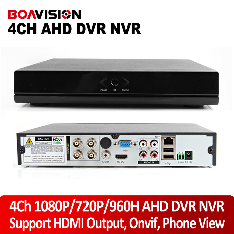 4Ch AHD DVR 1080P/720P/ 960H CCTV DVR Real time HDMI Output 4Ch Hybrid DVR NVR For 1.0MP/2MP AHD Camera P2P Function