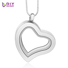 13 Style with 4 color! High quality Heart pendant necklace heart floating locket (chains included for free) LSFL04-1(China)