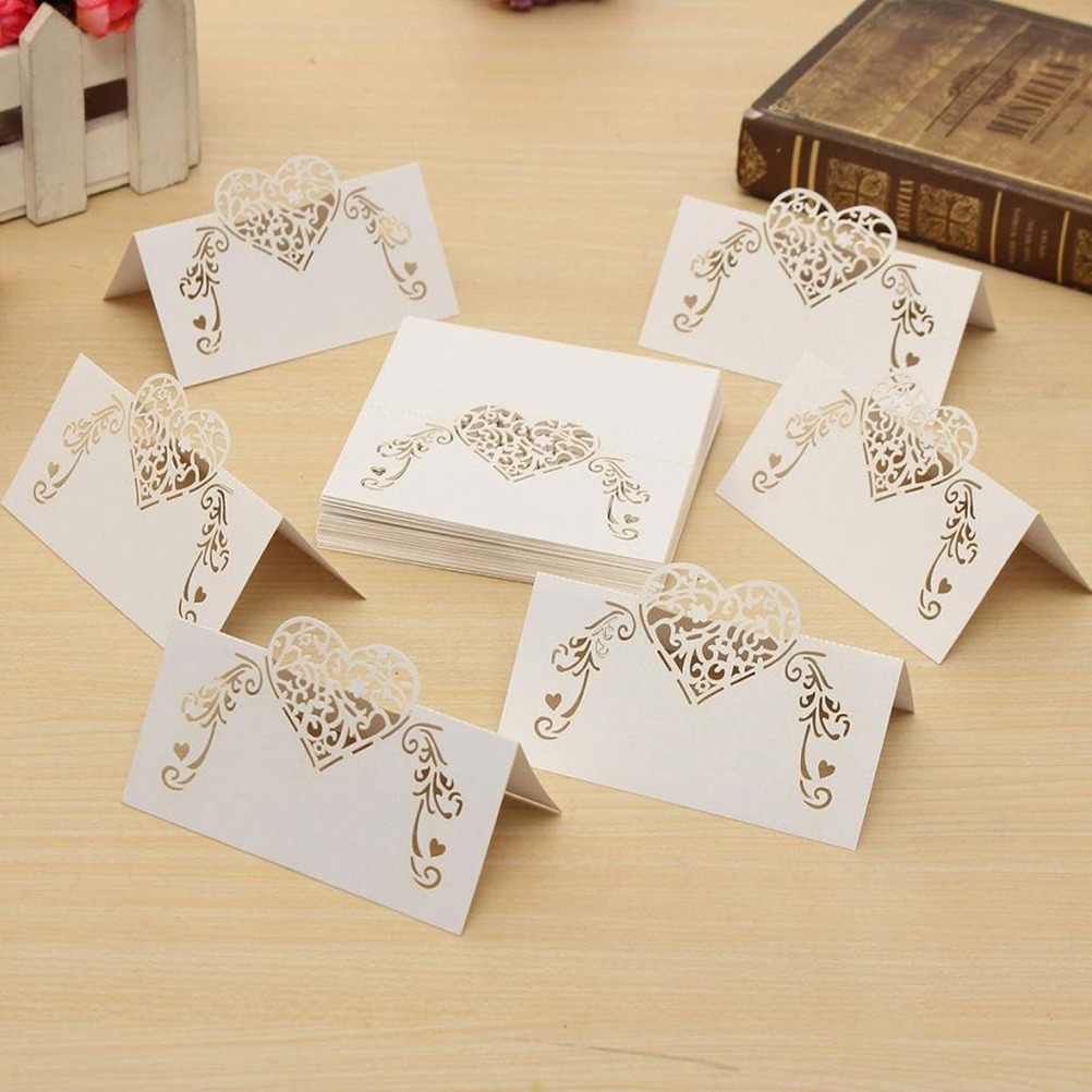 Image 5 - NICEXMAS 50pcs Laser Cut Heart Shape Place Cards Wedding Name Cards For Wedding Party Table Decoration Wedding Decor-in Party DIY Decorations from Home & Garden