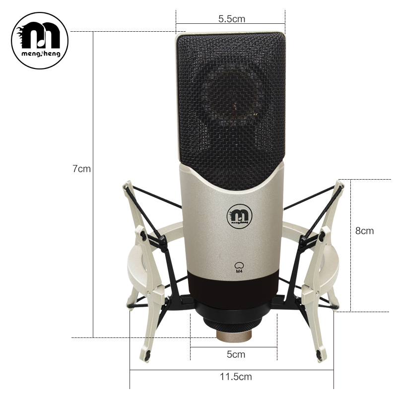 MS M4 Professional Studio Broadcasting Recording Condenser Microphone Kit With Shock Mount and Microphone Audio Cables стоимость