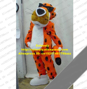Fashional Orange Chester Cheetos Cheetah Leopard Panther Pard Mascot Costume With Long Beard White Belly Thin Tail No.1846 FS