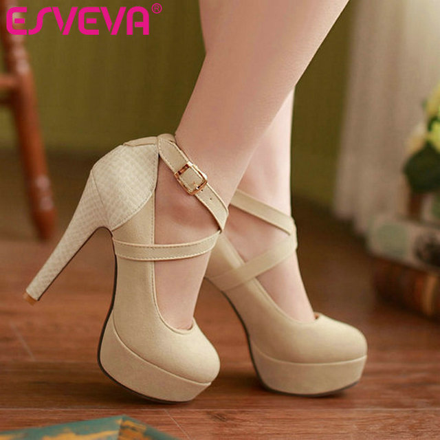 ESVEVA 2017 Fashion Platform Sexy Women Pumps Thin High Heel Shoes Round Toe Ladies Party Shoes Women's Wedding Shoes Size 34-42