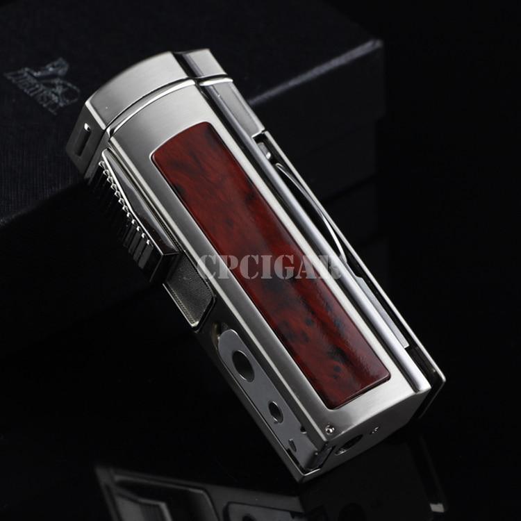 LUBINSKI Large Size Multifunctional 4 Fire Flame Table Cigar Lighter Built in Cigar Cutter Scissors lighter