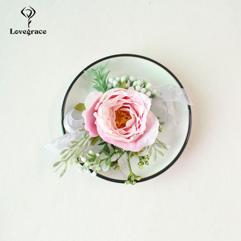 white Pink roses wedding  wrist corsage bracelet bridesmaid Boutonniere flowers (95)