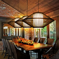 Japanese Tatami Style Wooden Hanging Natural Bamboo Wicker Rattan Lantern Cage Shade Pendant Light Fixture for Bar Dining Room