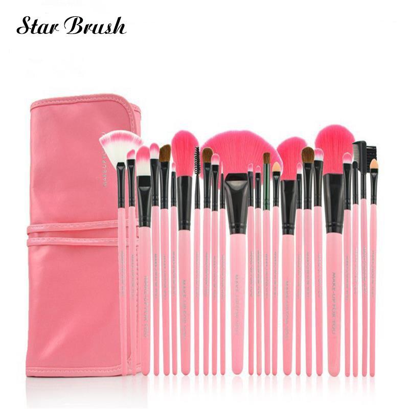 24pcs set Makeup Brush Pink Professional 3color Brushes set tools portable full Cosmetic brush tools kits makeup accessories